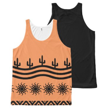 Aztec Themed Peach And Black Southwest Tank Top