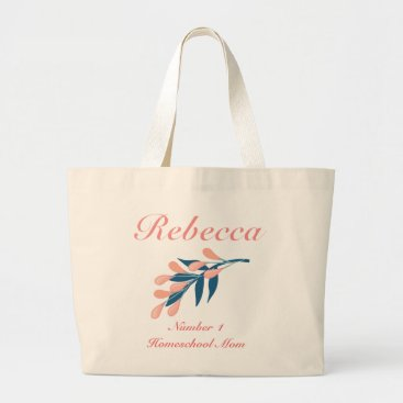 Beach Themed Peach and blue floral Number 1 Homeschool Mom Large Tote Bag
