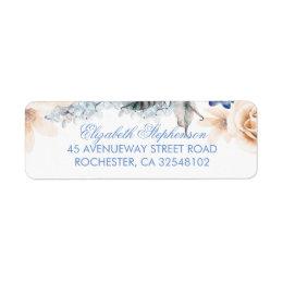 Peach and Blue Flowers Elegant Wedding Label