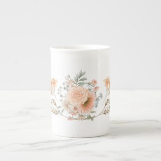 Peach and Blue Late Summer Flowers Bone China Mug
