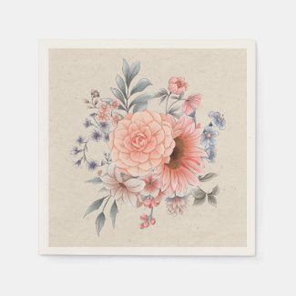 Peach and Blue Late Summer Flowers Napkins