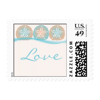 Peach and Blue Sand Dollars Beach Postage Stamp