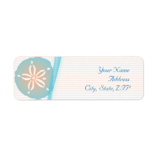 Peach and Blue Sand Dollars Custom Return Address Label