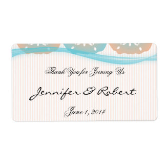 Peach and Blue Sand Dollars Water Bottle Label