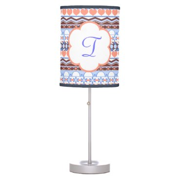 Aztec Themed peach and blue striped aztec pattern monogram table lamp