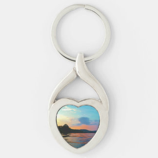 Peach and Blue Sunset on mountain Lake Keychain