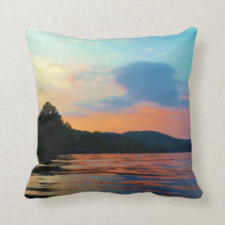 Peach and Blue Sunset on mountain Lake Throw Pillow