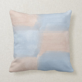 Peach and Blue Watercolor Throw Pillow