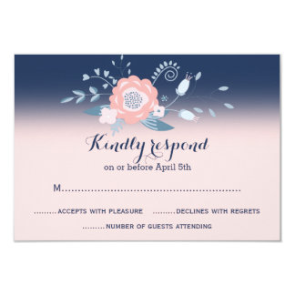 Peach and blue wedding RSVP cards Monogram