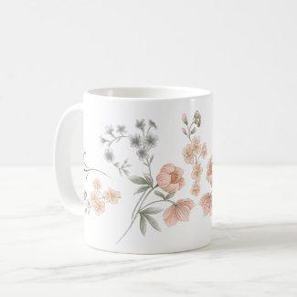 Peach and Blue Wildflower Botanical Trim Coffee Mug