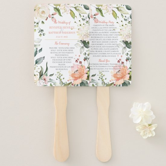 Peach and Blush Watercolor Floral Frame Wedding Hand Fan