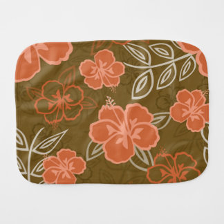 Peach and Brown Hawaiian Hibiscus Pattern Baby Burp Cloth