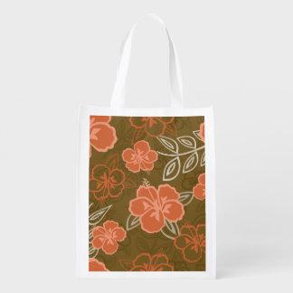 Peach and Brown Hawaiian Hibiscus Pattern Grocery Bag