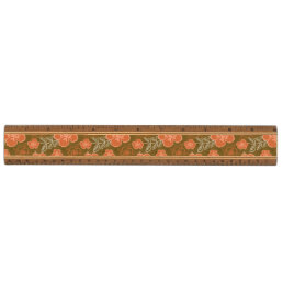 Peach and Brown Hawaiian Hibiscus Pattern Ruler