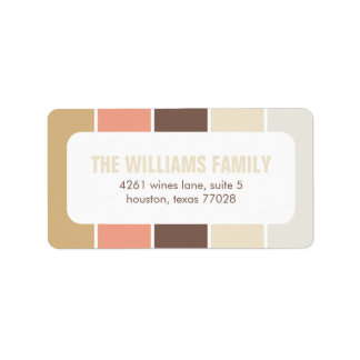 Peach and Brown Modern Color Blocks Label