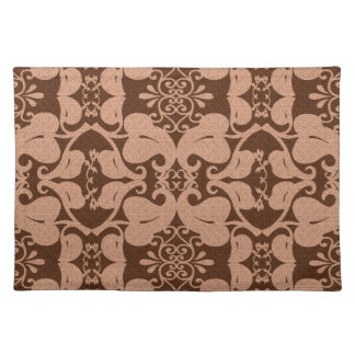 Peach And Brown Modern Elegant Leaf Pattern Placemats