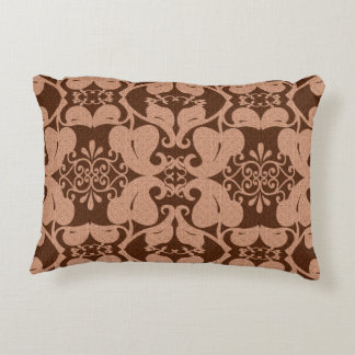 Peach And Brown Modern Elegant Ornate Leaf Pattern Accent Pillow