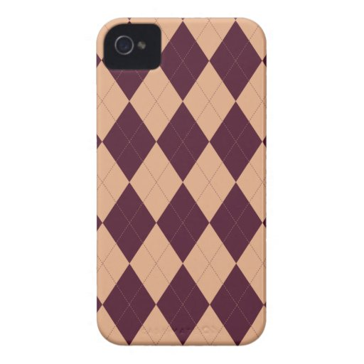 Peach and Burgundy Arglye iPhone 4/4S Case iPhone 4 Case-Mate Cases