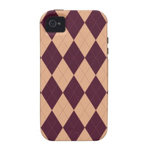 Peach and Burgundy Arglye iPhone 4 TOUGH Case Vibe iPhone 4 Cases