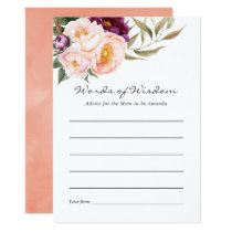 Peach and Burgundy Floral Baby Advice for Mom Invitation