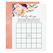 Peach and Burgundy Floral Baby Bingo Invitation