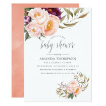 Peach and Burgundy Floral Baby Shower Invitation