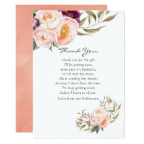 Peach and Burgundy Floral Baby Shower Thank You Invitation