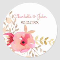 Peach and Coral Floral Spring Wedding Classic Round Sticker
