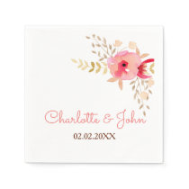 Peach and Coral Floral Spring Wedding Paper Napkin