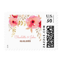Peach and Coral Floral Spring Wedding Postage