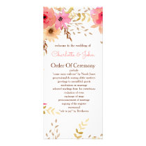 Peach and Coral Floral Spring Wedding Rack Card