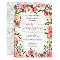 Peach and Coral Flowers Floral Bridal Shower Card