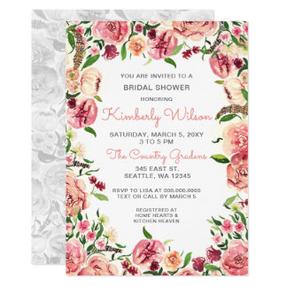 Peach and Coral Flowers Floral Bridal Shower Invitation