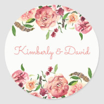 Peach and Coral Flowers Floral Wedding Classic Round Sticker