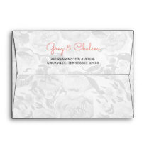Peach and Coral Flowers Floral Wedding Envelope