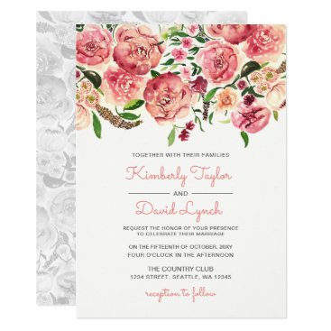 Peach and Coral Flowers Floral wedding invitation