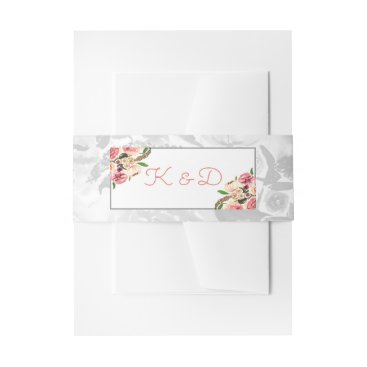 Peach and Coral Flowers Floral Wedding Invitations Invitation Belly Band