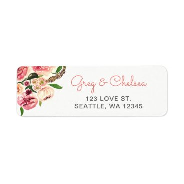 Peach and Coral Flowers Floral Wedding Label