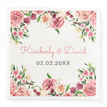 Peach and Coral Flowers Floral Wedding Paper Dinner Napkin
