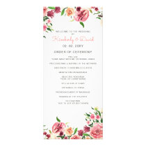Peach and Coral Flowers Floral Wedding Programs