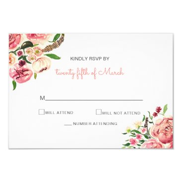 Peach and Coral Flowers Floral wedding rsvp cards