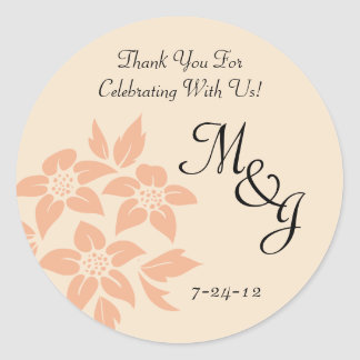 Peach and Cream Damask Wedding Favor Labels Classic Round Sticker