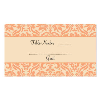 Peach and Cream Damask Wedding Table Place Cards Double-Sided Standard Business Cards (Pack Of 100)