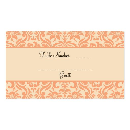 table placement cards templates - peach and cream damask wedding table place cards double