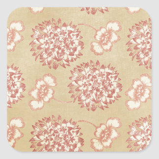 Peach and Cream Flower Pattern Square Stickers