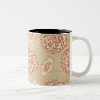 Peach and Cream Flower Pattern Two-Tone Coffee Mug
