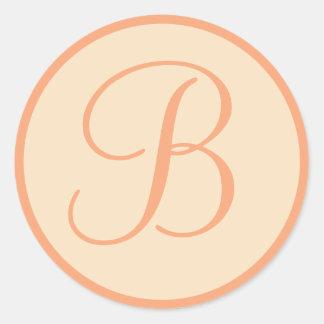 Peach and Cream Monogrammed Personal Seals Round Sticker