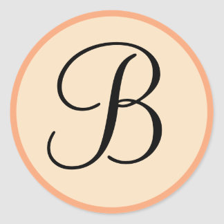 Peach and Cream Monogrammed Personal Seals Stickers