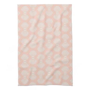 Beach Themed Peach and Cream Seashell Towel