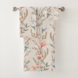 Peach and Dusty Blue Floral Garland Bath Towel Set